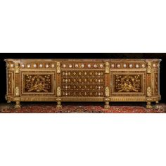 Gorgeously Patterned Rosewood and Walnut Burl Sideboard from our furniture showpiece collection.7326