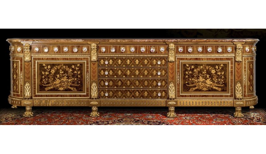 Breakfronts & China Cabinets Gorgeously Patterned Rosewood and Walnut Burl Sideboard from our furniture showpiece collection....