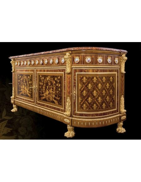 Breakfronts & China Cabinets High End Wooden Sideboard with Intricate Details from our furniture showpiece collection. 7327