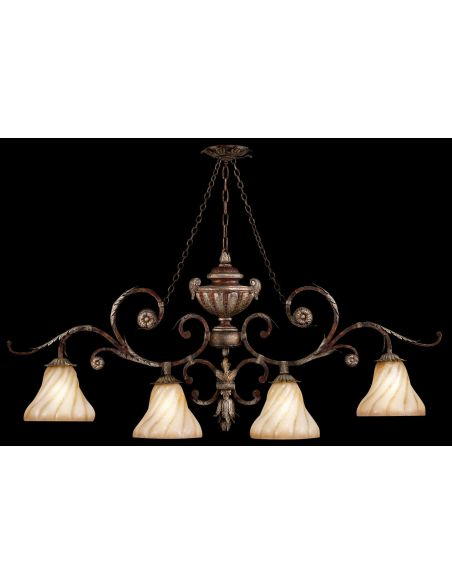 Lighting Oblong chandelier in tortoised leather crackle finish