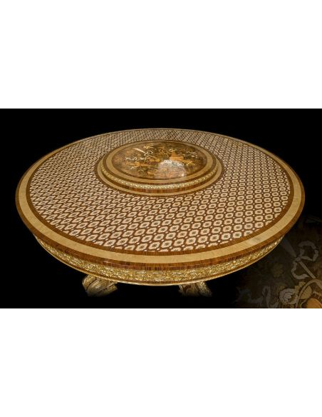Dining Tables Gorgeous Chocolate Gold Patterned Dining Table from our furniture showpiece collection. 7335
