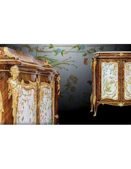 Breakfronts & China Cabinets Gorgeous In Bloom Entrace Dresser with Golden Details from our furniture showpiece collection. 7339