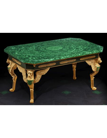 Dining Tables Gorgeous Emerald Empire Style Table from our furniture showpiece collection. 7343