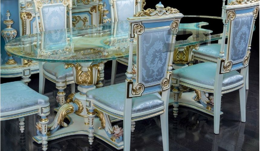 Dining Tables Elegantly Detailed Looking Glass Dining Table from our furniture showpiece collection. 7345