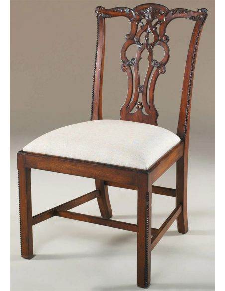 Dining Chairs Carved Aged Regency Finished Mahogany Chippendale Side Chair, Woven Caramel Fabric