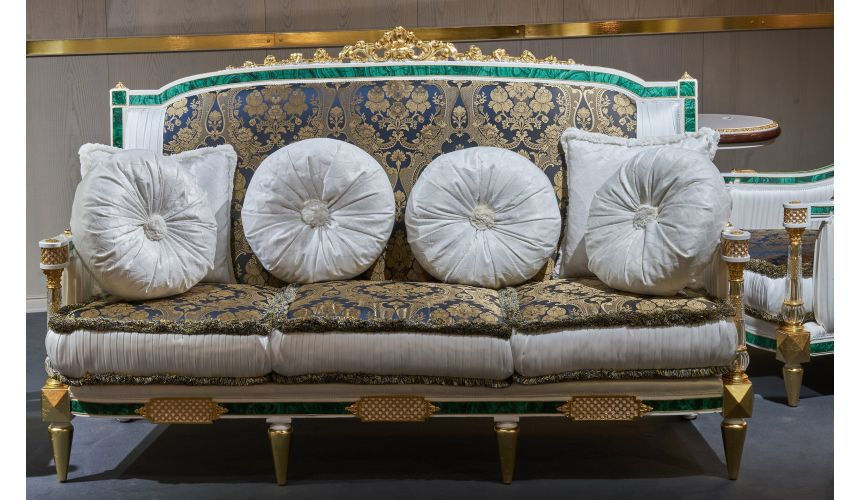 SOFA, COUCH & LOVESEAT Luxuriously Detailed Sapphire and Golden Sofa from our furniture showpiece collection. 7362