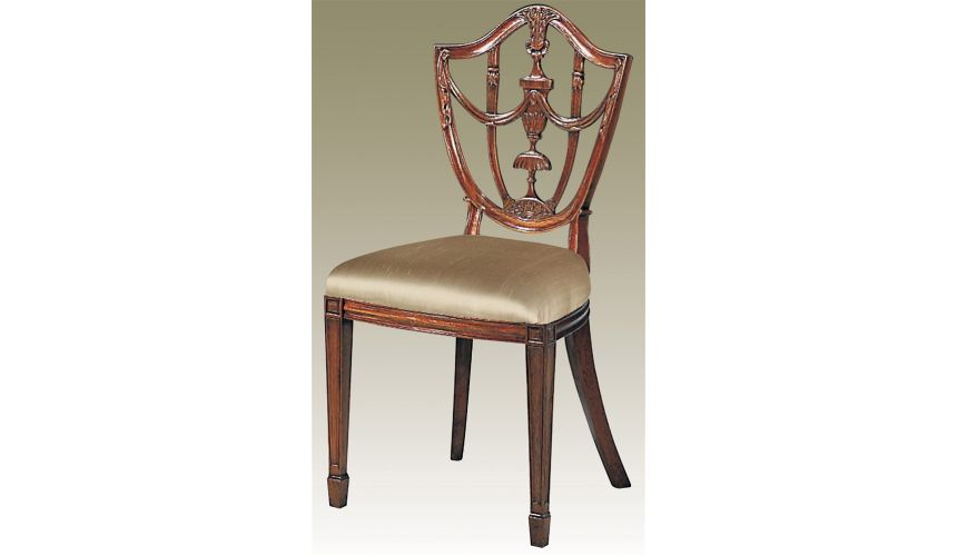 Dining Chairs Carved Polished Mahogany Finish Hepplewhite Shield Back