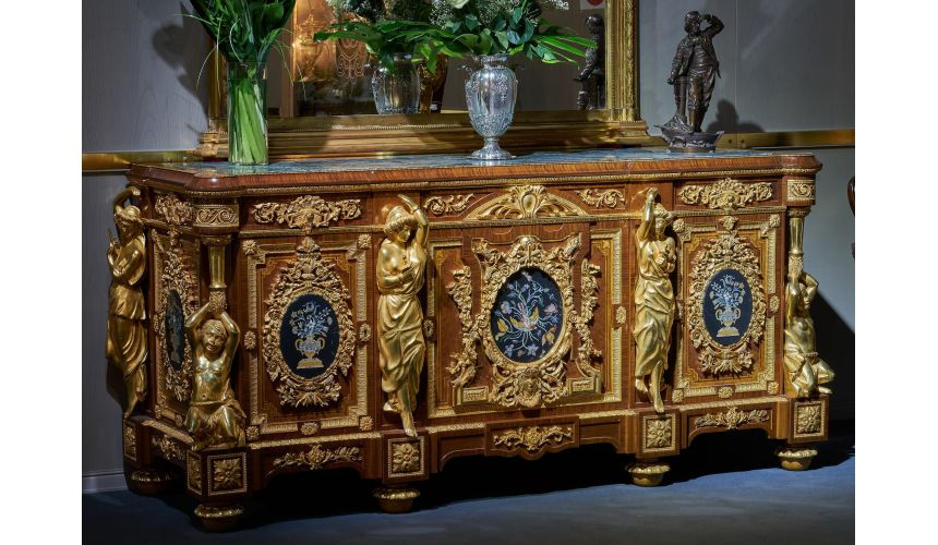 Breakfronts & China Cabinets Deluxe Golden Detailed Writing Desk with Oval Paintings from our furniture showpiece collection....
