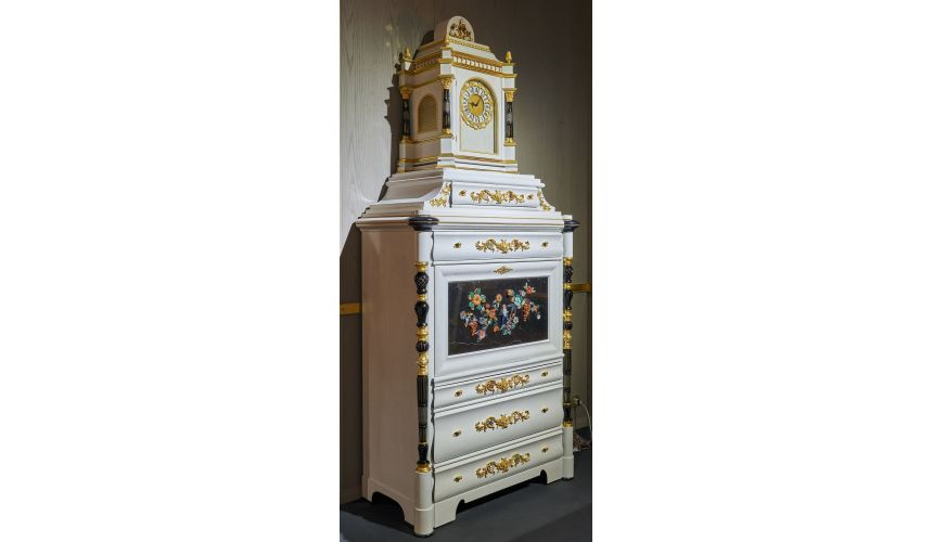 Breakfronts & China Cabinets Deluxe White and Black Cabinet with Tropical Detailing from our furniture showpiece collection. ...