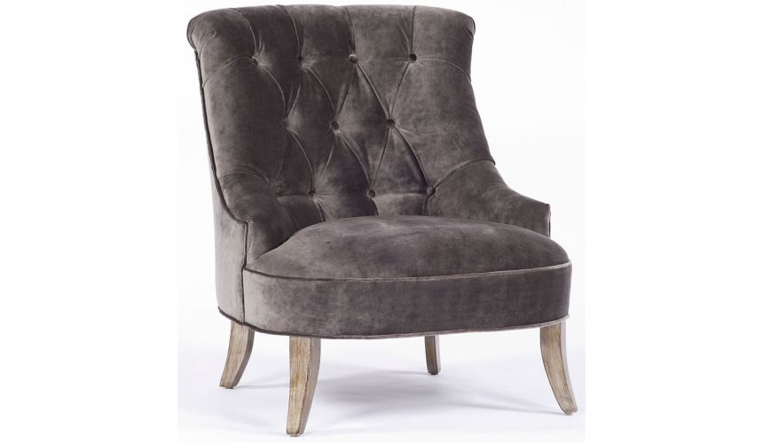 Modern Furniture Brown Tufted Microfiber Chair