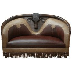 High End Western Bull Sofa from our handcrafted Wild West furniture collection. 7383