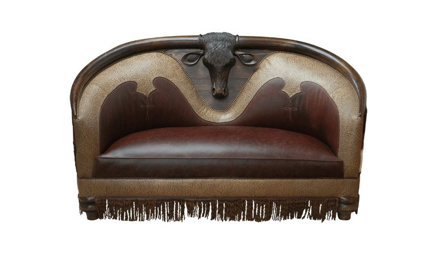 SETTEES, CHAISE, BENCHES High End Western Bull Sofa from our handcrafted Wild West furniture collection. 7383