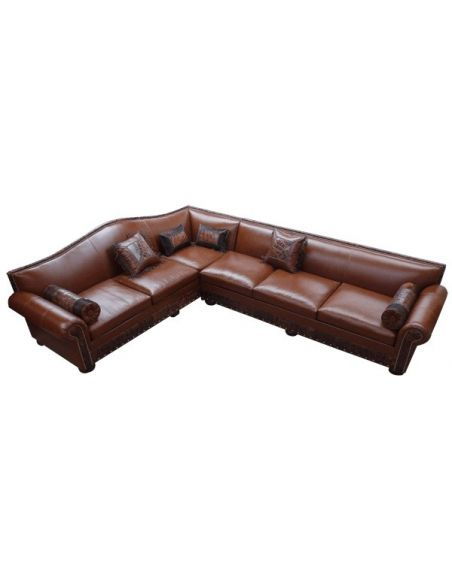 SECTIONALS - Leather & High End Upholstered Furniture Luxurious Deep Brown Ramon Sofa from our handcrafted Wild West furnitur...