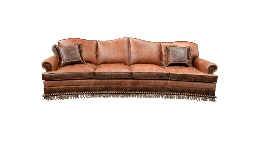Western Furniture High End Rustic Orange Desert Sands Sofa from our handcrafted Wild West furniture collection. 7391