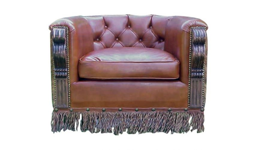 CHAIRS, Leather, Upholstered, Accent Elegantly Detailed Horseshoe Armchair from our handcrafted Wild West furniture collectio...