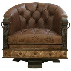 Gorgeously Detailed Rustic Leather Chair from our handcrafted Wild West furniture collection. 7404