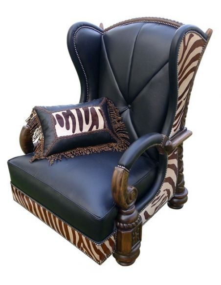CHAIRS, Leather, Upholstered, Accent Deluxe La Kesara Kingdom Armchair from our handcrafted Wild West furniture collection. 7405