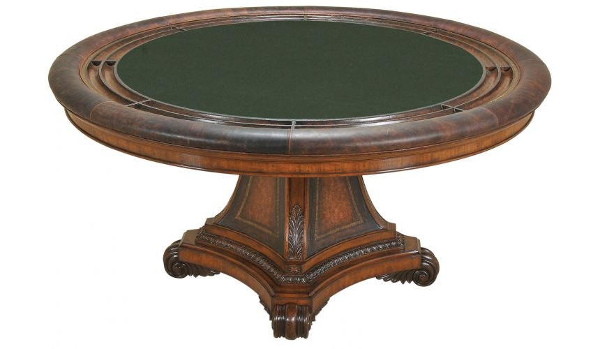 Game Card Tables & Game Chairs Hand Carved Aged Regency Finished Game Table.