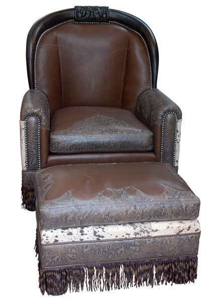 Chairs Leather Upholstered Accent Luxe Intricately Detailed Western Armchair From Our Handcrafted Wild