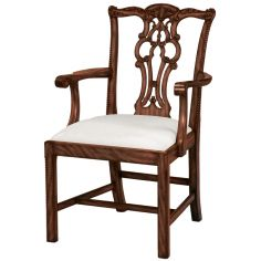 Carved Aged Regency Finished Mahogany Chippendale Armchair, Woven Caramel Fabric