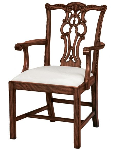 Dining Chairs Carved Aged Regency Finished Mahogany Chippendale Armchair, Woven Caramel Fabric