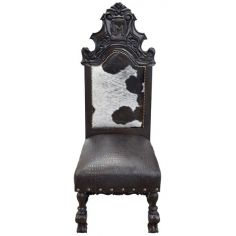Elegant Black and White Western Dining Chair from our handcrafted Wild West furniture collection. 7408