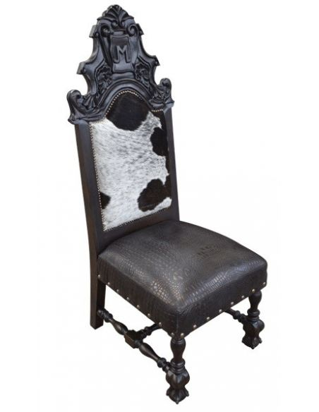 Dining Chairs Elegant Black and White Western Dining Chair from our handcrafted Wild West furniture collection. 7408