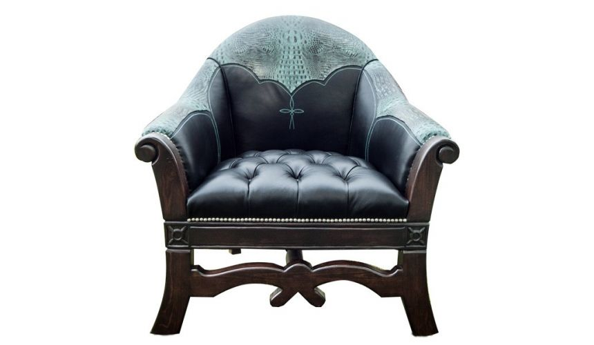 CHAIRS, Leather, Upholstered, Accent Beautiful Teal Murky Waters Armchair from our handcrafted Wild West furniture collection...