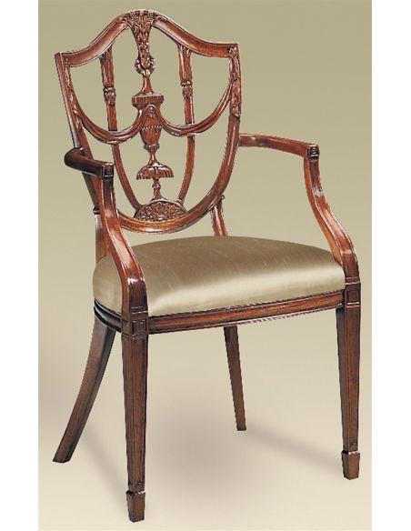 Dining Chairs Carved Polished Mahogany Finish Hepplewhite Shield Back Armchair, Neutral Uph.