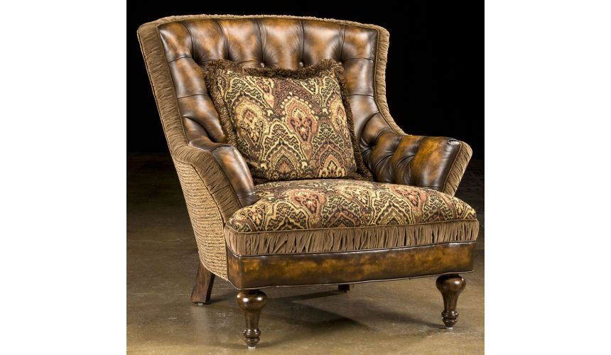 Antique Leather Chair with Tapestry Seat