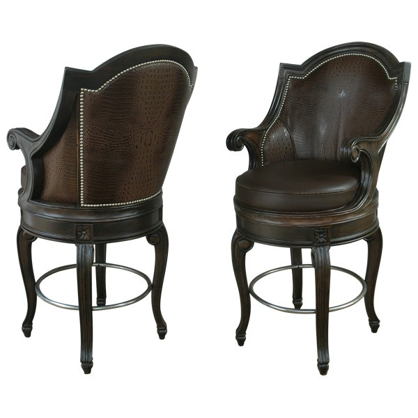 Unique Bar Furniture: Luxurious Rich Brown Leather Bar Stool From Our