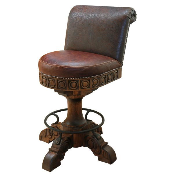 Richly Detailed Classic Leather Bar Stool From Our