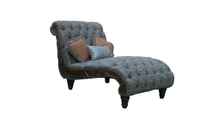 SETTEES, CHAISE, BENCHES Elegant Stormy Grey Chaise Lounge from our handcrafted Wild West furniture collection. 7428