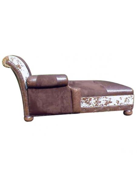 SETTEES, CHAISE, BENCHES Cowhide Patterned Chaise Lounge Jairo from our handcrafted Wild West furniture collection. 7429