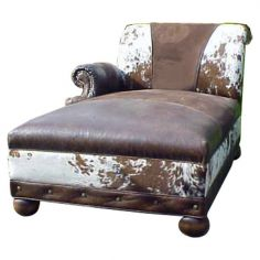 Cowhide Patterned Chaise Lounge Jairo from our handcrafted Wild West furniture collection. 7429