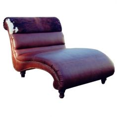 Deluxe Cowhide Chaise Lounge from our handcrafted Wild West furniture collection. 7430