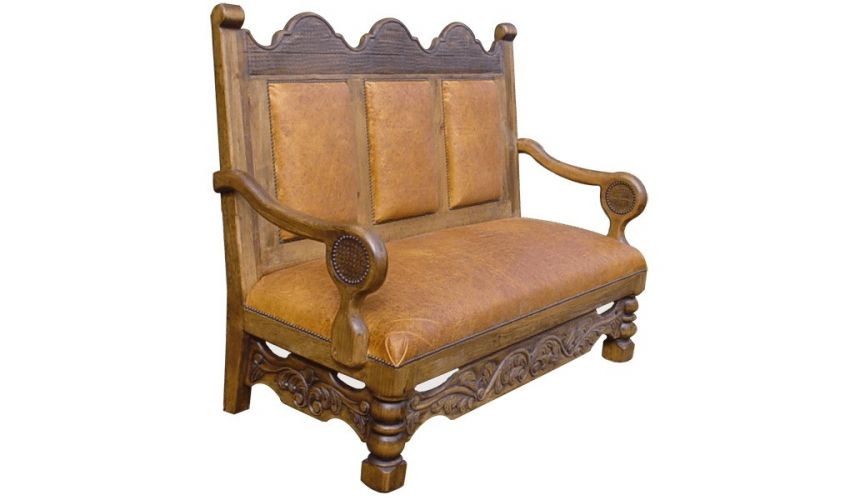 SETTEES, CHAISE, BENCHES High End Marigold Full Bench from our handcrafted Wild West furniture collection. 7440