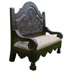 Dark and Light Full Spanish Bench Pacho from our handcrafted Wild West furniture collection. 7443