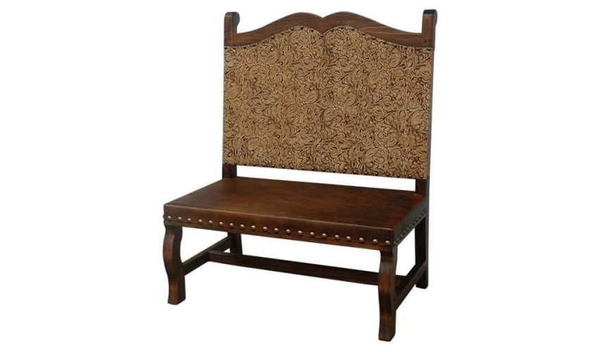 SETTEES, CHAISE, BENCHES Elegant Golden Sun Rays Bench from our handcrafted Wild West furniture collection. 7446