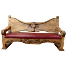 Deluxe Rustic Cowboy Inspired Rouge Bench from our handcrafted Wild West furniture collection. 7448