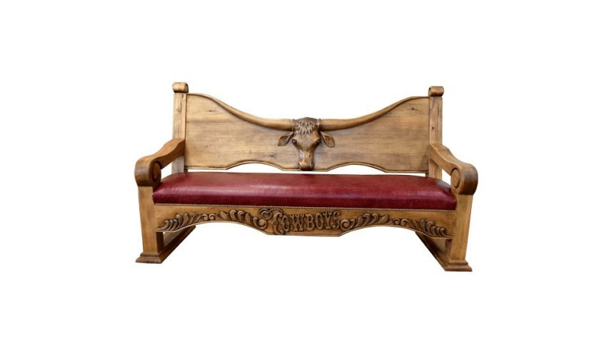 SETTEES, CHAISE, BENCHES Deluxe Rustic Cowboy Inspired Rouge Bench from our handcrafted Wild West furniture collection. 7448