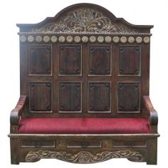 Elegant Golden and Scarlet Esperanza Bench from our handcrafted Wild West furniture collection. 7449