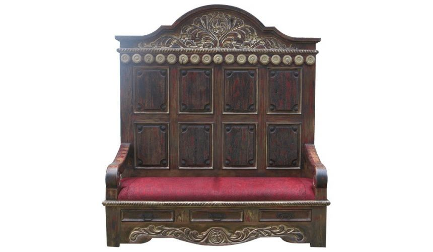SETTEES, CHAISE, BENCHES Elegant Golden and Scarlet Esperanza Bench from our handcrafted Wild West furniture collection. 7449