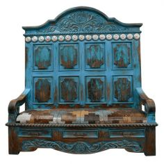 Western Styled Iliana with Patterned Seat from our handcrafted Wild West furniture collection. 7450