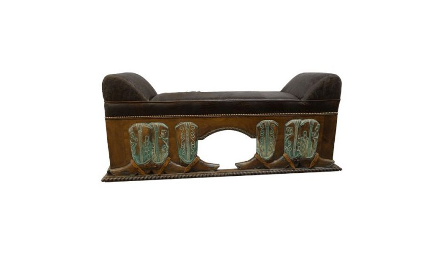 SETTEES, CHAISE, BENCHES High End J.Kurczyn Designed Bench Vidal from our handcrafted Wild West furniture collection.7453