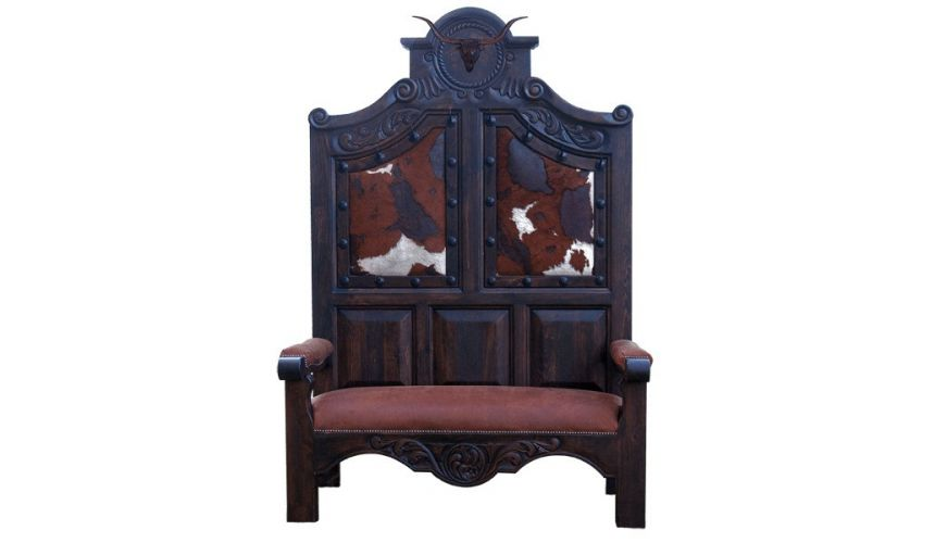 SETTEES, CHAISE, BENCHES High End Ranch Cattle Bench from our handcrafted Wild West furniture collection. 7454