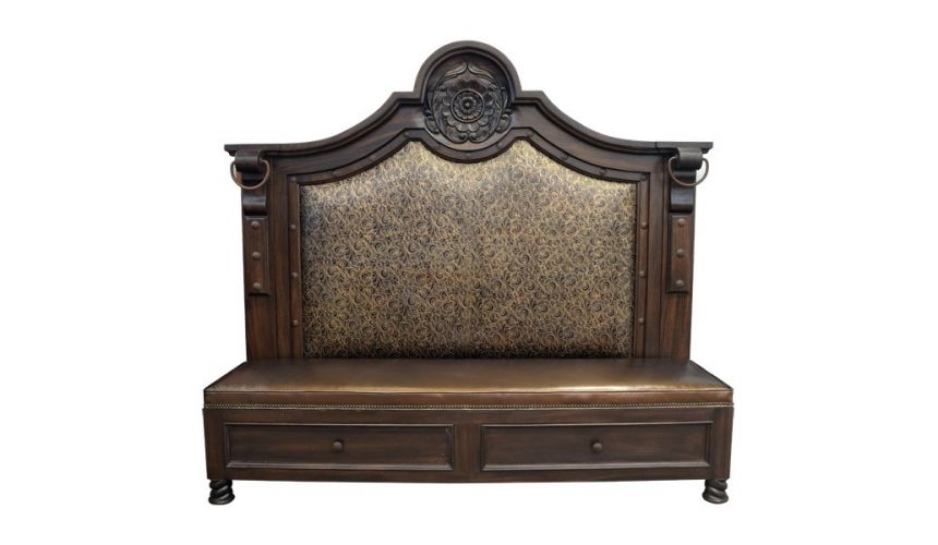SETTEES, CHAISE, BENCHES Luxurious Golden Cushioned Bench from our handcrafted Wild West furniture collection. 7456