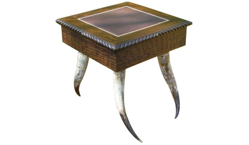 Square & Rectangular Side Tables Luxurious Western Style Table Paquito Alonzo from our handcrafted Wild West furniture collec...