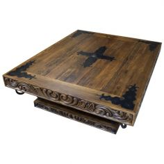 Weathered Carved Coffee Table Catalina from our handcrafted Wild West furniture collection. 7462