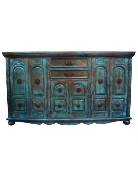 Chest of Drawers Deluxe Rustic Turquoise Nieves Bureau from our handcrafted Wild West furniture collection. 7465